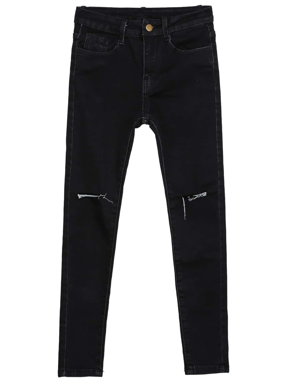 Black Slim Ripped Pockets Denim Pant -SheIn(Sheinside)