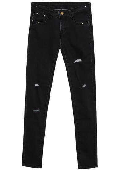 Black Pockets Ripped Denim Pant