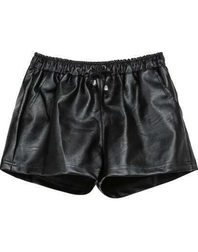 Black Drawstring Waist PU Leather Shorts