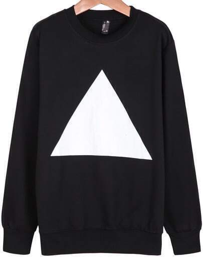 Black Long Sleeve Triangle Print Sweatshirt
