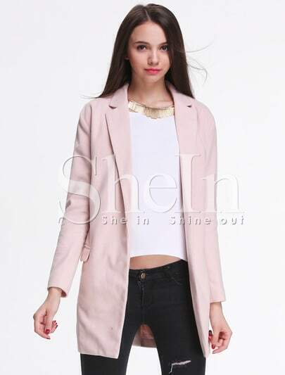 Pink Long Sleeve Notch Lapel Coat