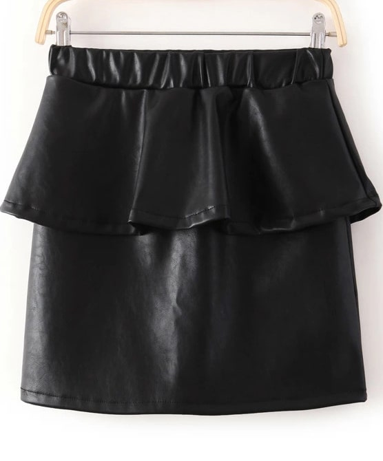 black elastic waist ruffle pu leather skirt shein sheinside