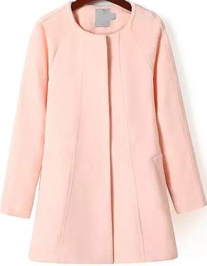 Pink Long Sleeve Loose Woolen Coat