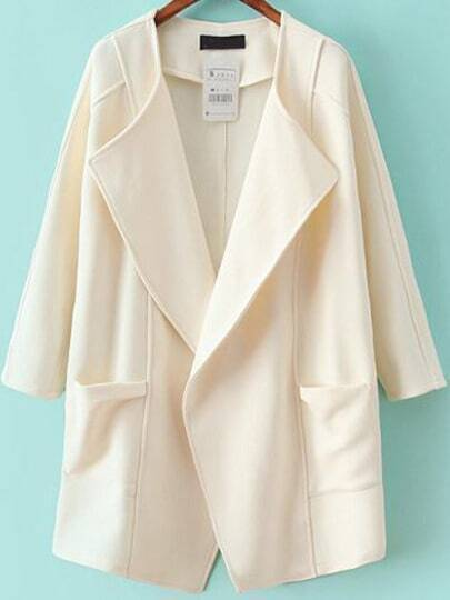 White Lapel Long Sleeve Asymmetrical Trench Coat