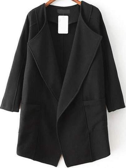 Black Lapel Long Sleeve Asymmetrical Trench Coat