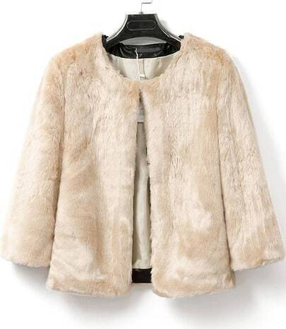 Apricot Long Sleeve Crop Faux Fur Coat
