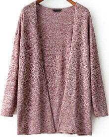 Red Long Sleeve Loose Knit Cardigan