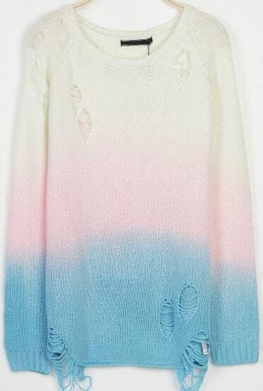 Blue White Ombre Long Sleeve Ripped Knit Sweater