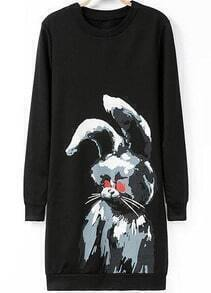 Black Long Sleeve Rabbit Print Dress