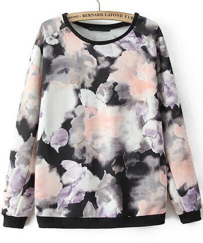 Black Long Sleeve Ink Floral Loose Sweatshirt