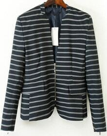 Black Long Sleeve Zipper Striped Blazer