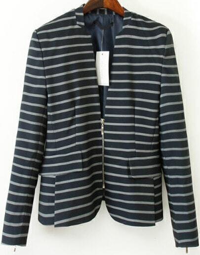 Black Long Sleeve Zipper Striped Blazer