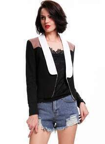 Black Contrast Collar Long Sleeve Fitted Blazer