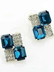Blue Gemstone Silver Diamond Stud Earrings