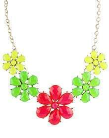 Red Green Gemstone Gold Flowers Chain Necklace