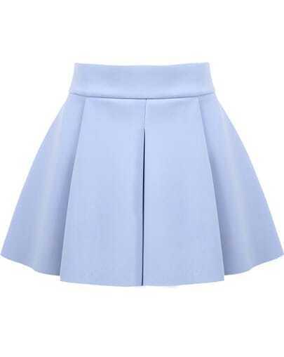 Blue High Waist Ruffle Flare Skirt