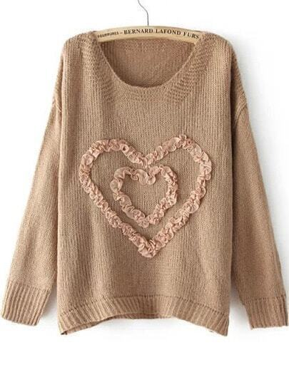 Coffee Long Sleeve Heart Pattern Knit Sweater