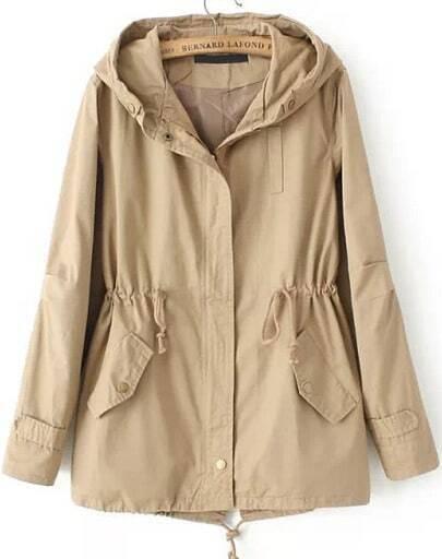 Khaki Hooded Long Sleeve Drawstring Pockets Coat