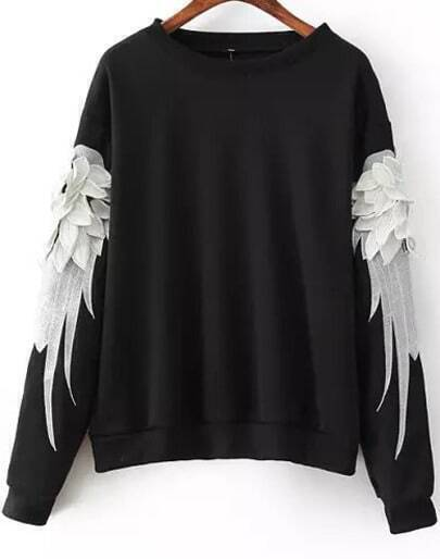 Black Long Sleeve Feathers Embroidered Sweatshirt