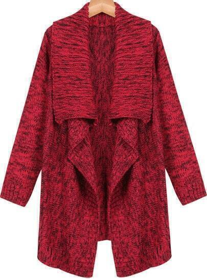 Red Lapel Long Sleeve Knit Cardigan