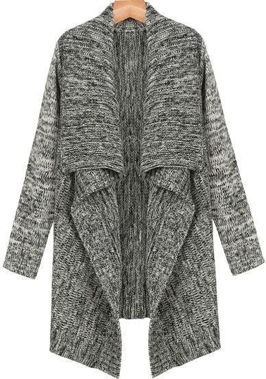 Grey Lapel Long Sleeve Knit Cardigan