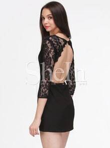 Black Hollow Lace V Neck Backless Dress