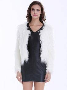 White Long Sleeve Faux Fur Zipper Coat