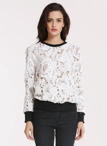White Long Sleeve Floral Crochet Lace Sweatshirt