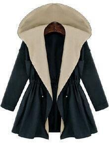 Navy Hooded Long Sleeve Drawstring Coat