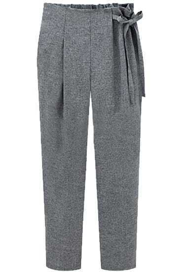 Grey High Waist Drawstring Loose Pant