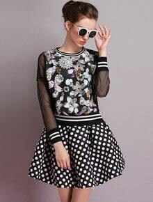 Black Sheer Mesh Yoke Floral Top With Polka Dot Skirt
