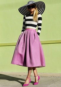 Black White Long Sleeve Striped Top With Purple Skirt