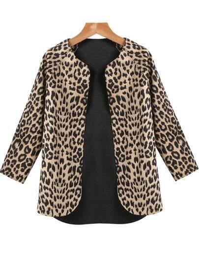 Brown Round Neck Long Sleeve Leopard Print Coat