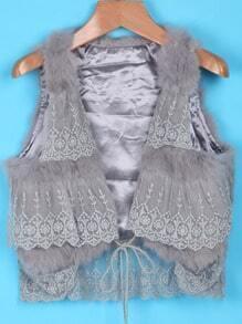 Grey Lace Embellishment Faux Fur Crop Vest