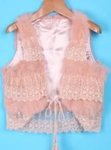 Pink Lace Embellishment Faux Fur Crop Vest