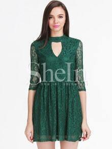 Green Long Sleeve Hollow Lace Pleated Dress