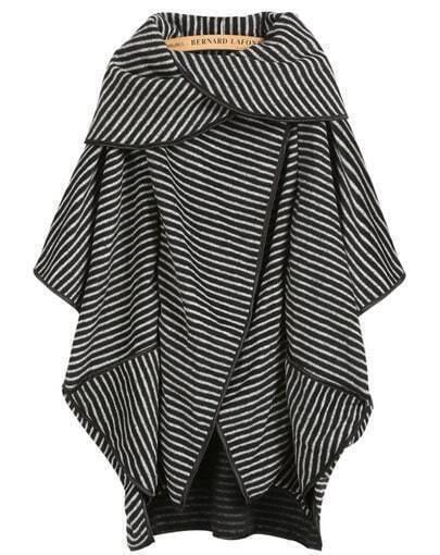 Black Short Sleeve Striped Loose Coat