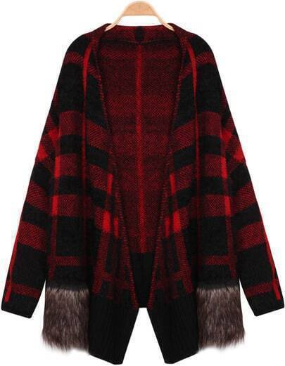 Red Long Sleeve Contrast Fur Plaid Knit Cardigan