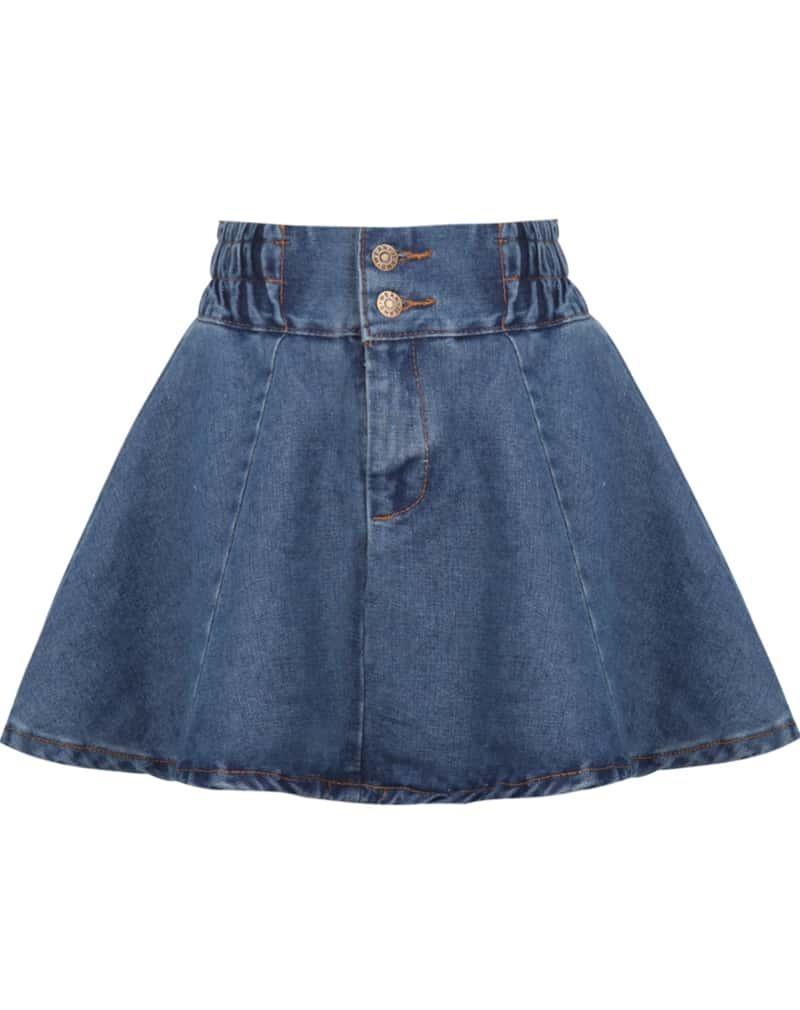 blue elastic waist flare denim skirt shein sheinside