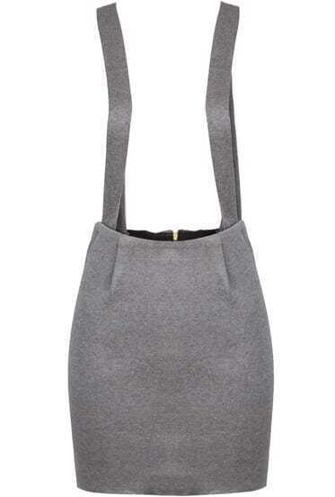 Grey Spaghetti Strap Split Bodycon Pinafore Dress