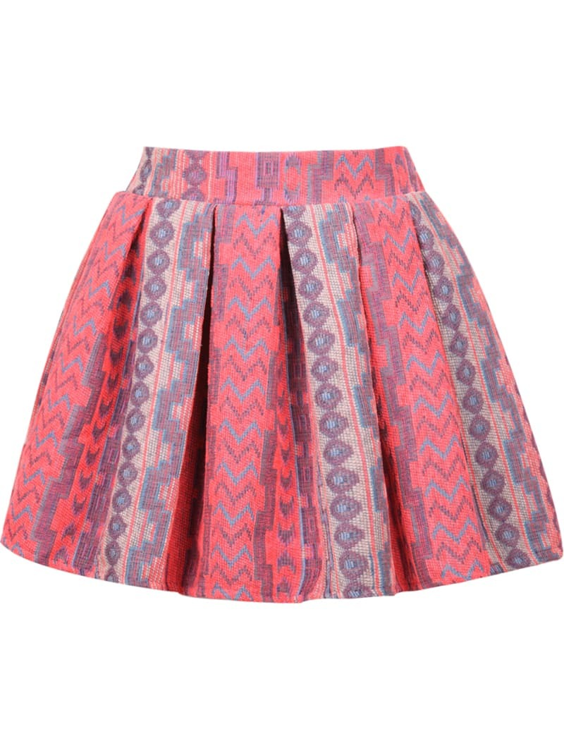 embroidered pleated flare skirt shein sheinside