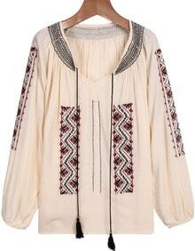 Apricot Long Sleeve Embroidered Loose Blouse