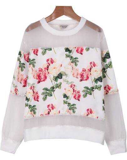 White Long Sleeve Floral Organza Blouse