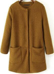 Khaki Round Neck Long Sleeve Woolen Coat