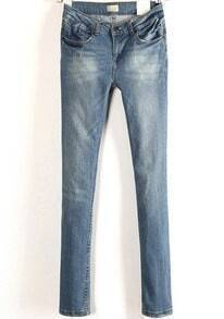 Blue Pockets Slim Bleached Denim Pant