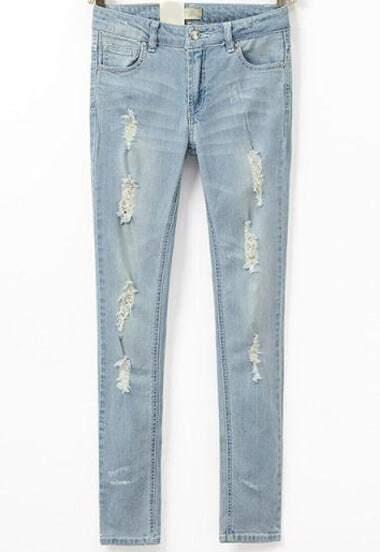Blue Slim Ripped Denim Pant