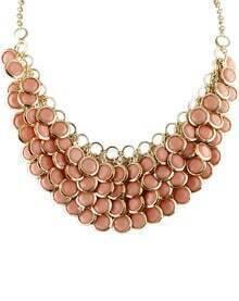 Pink Glaze Tassel Gold Chain Necklace