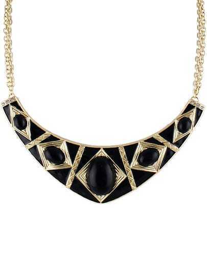 Black Gemstone Gold Collar Necklace