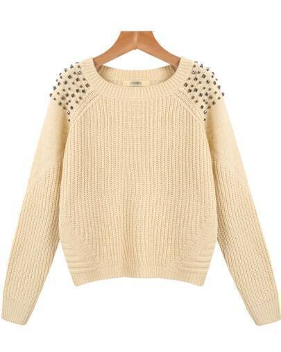 Apricot Long Sleeve Rivet Knit Sweater