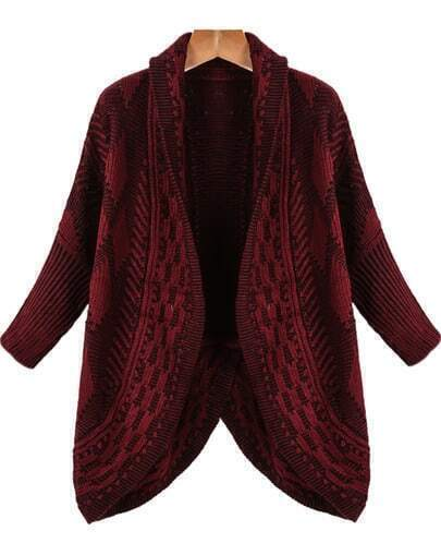 Red Long Sleeve Diamond Patterned Cardigan